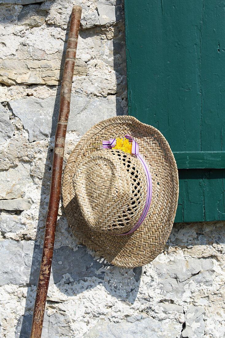 Straw hat and walking stick