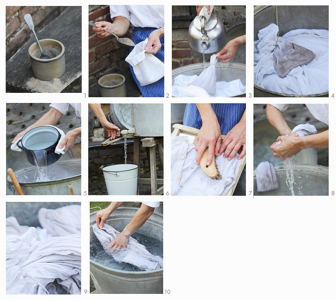 Washing laundry by hand using wood ash and a washboard