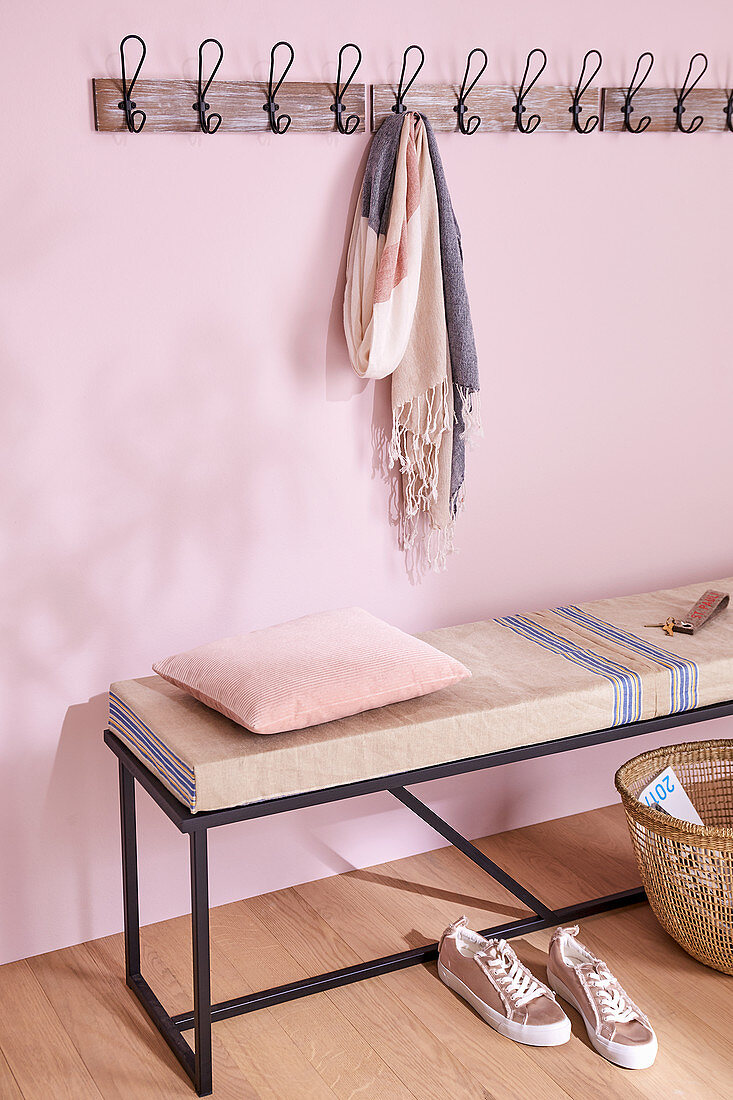 A DIY bench cushion with a linen cover