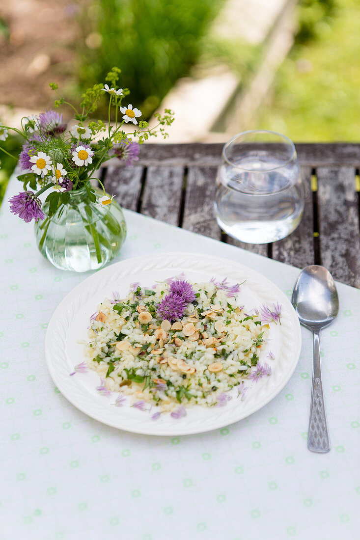 Chive-flower risotto