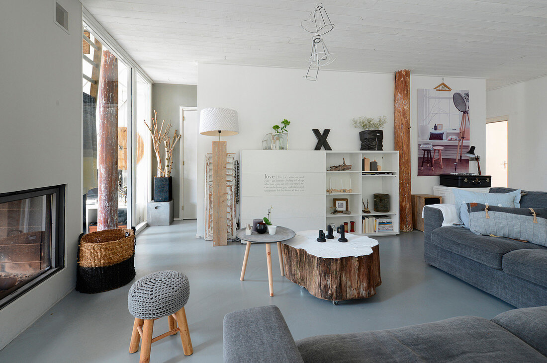 Scandinavian-style living room in shades of grey