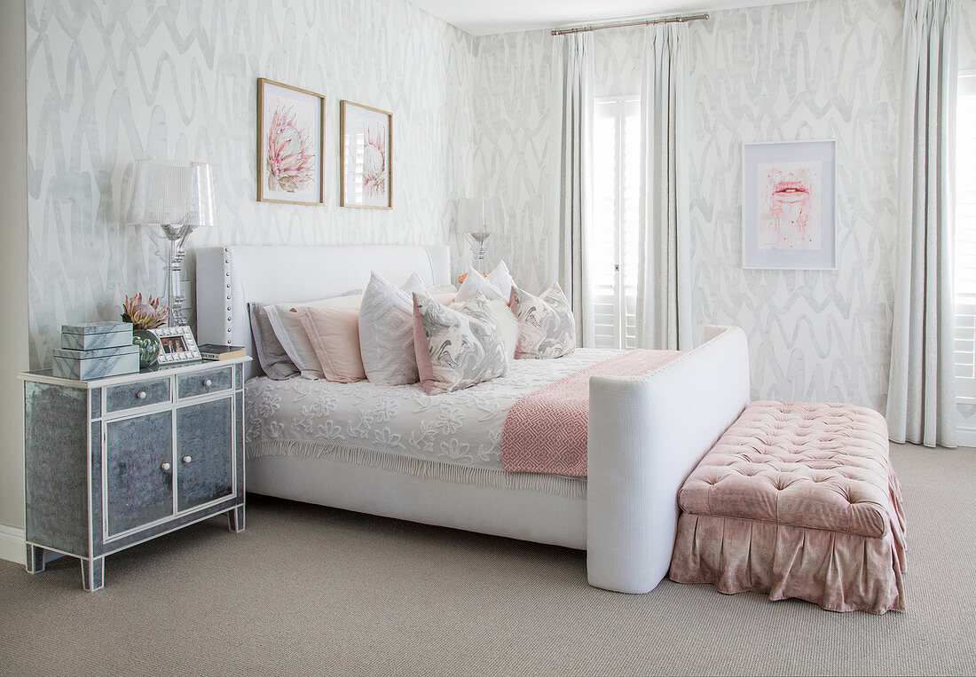 White And Grey Bedroom With Pink Accents Buy Image 12547664 Living4media