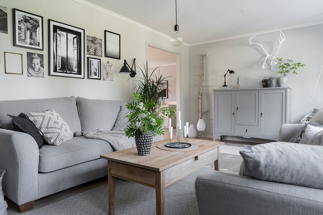 Grey sofas, wooden coffee table, houseplants and gallery of photos in living room
