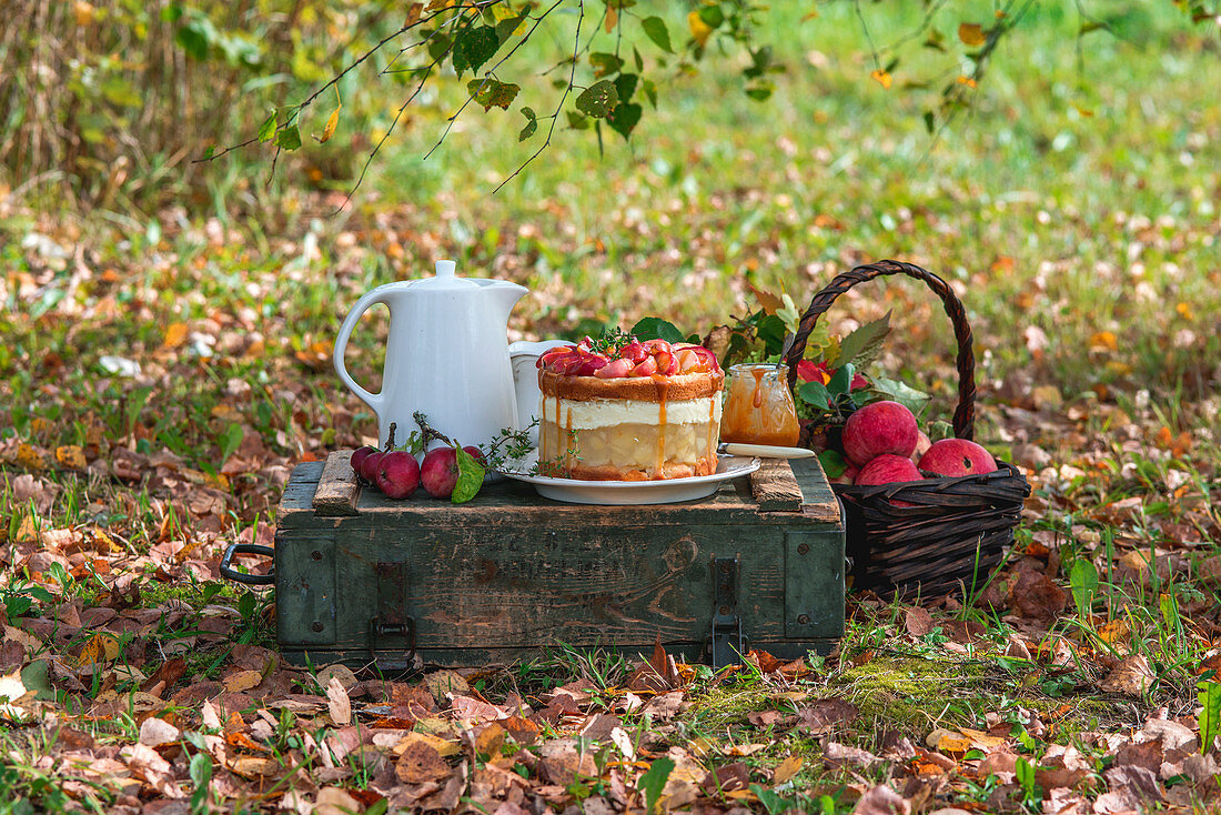 Apple jelly cake in autumn garden