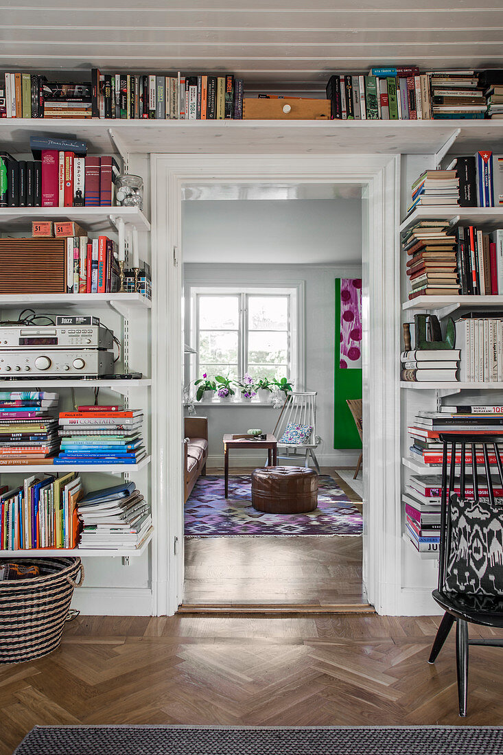 Library between hallway and living room