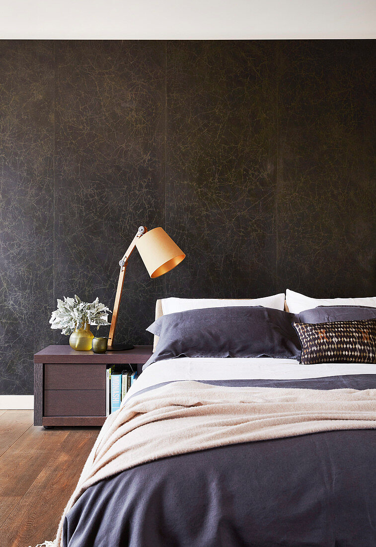 Black Marble Wall Behind The Bed In The Buy Image 12567866 Living4media