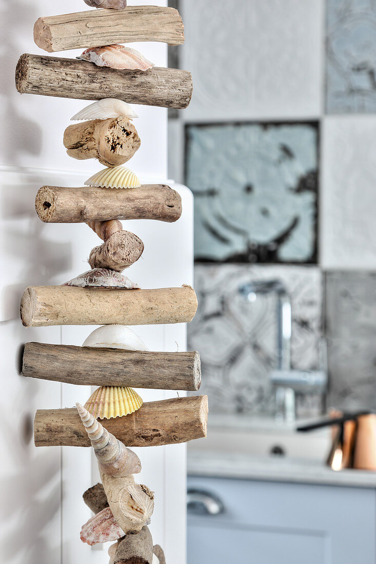 Garland of driftwood and shells