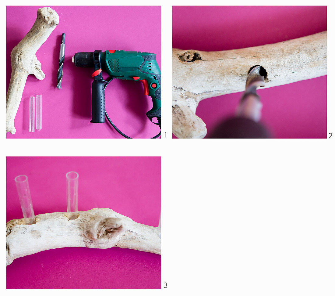 Instruction for making a vase from driftwood and test tubes