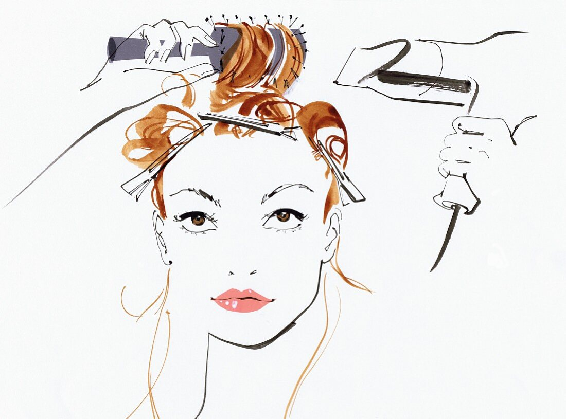 Beautiful woman styling her hair with hair dryer and hairbrush