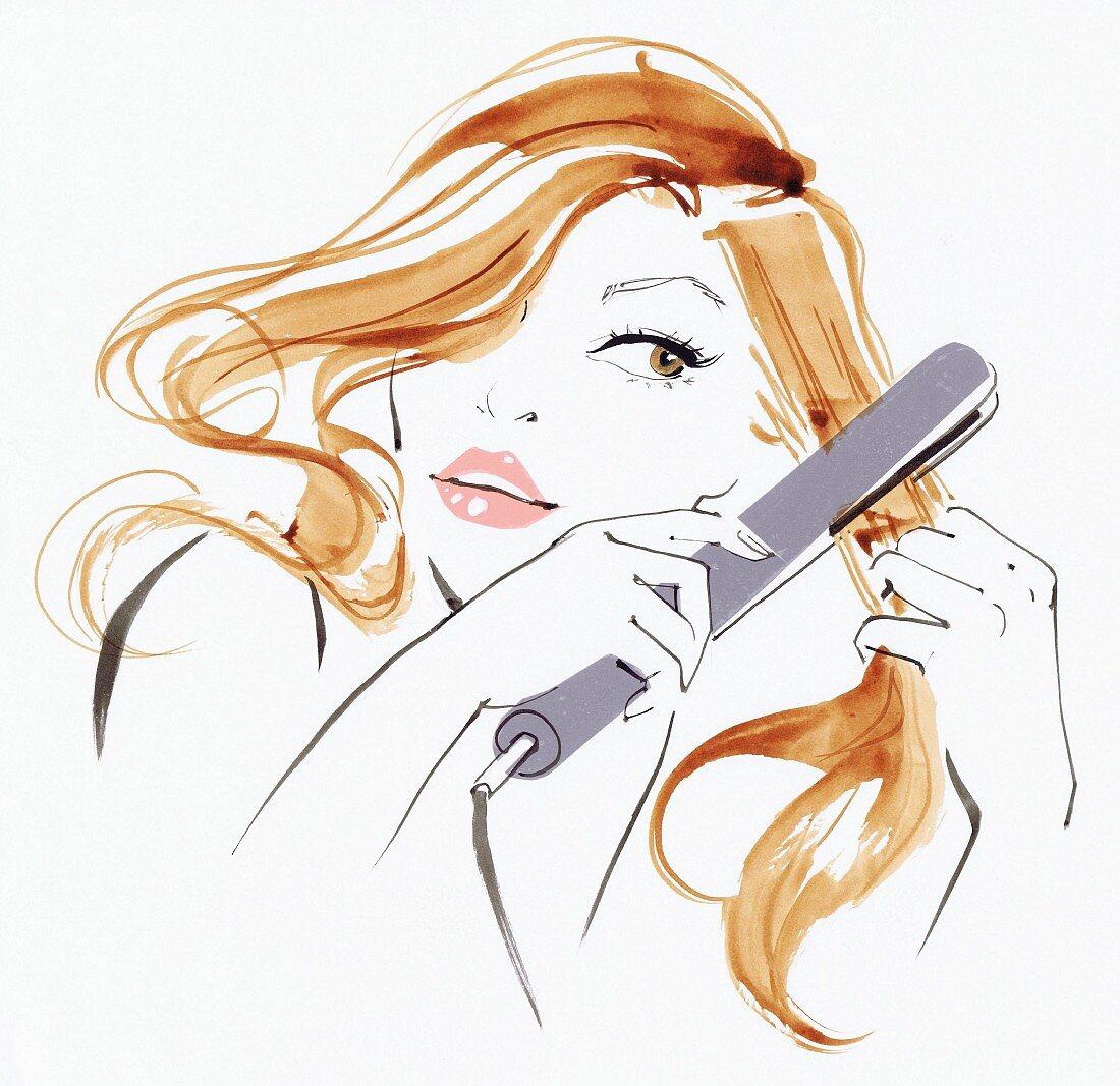 Beautiful woman straightening her long blonde hair using hair straighteners