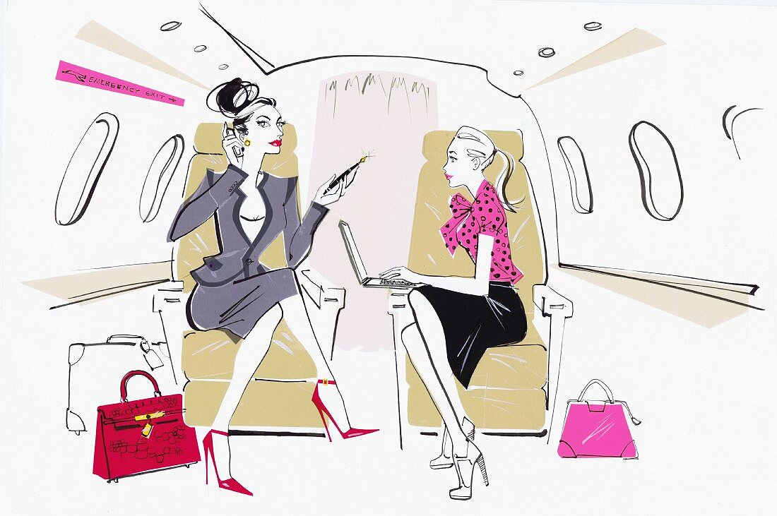 Busy powerful businesswoman on private jet with secretary
