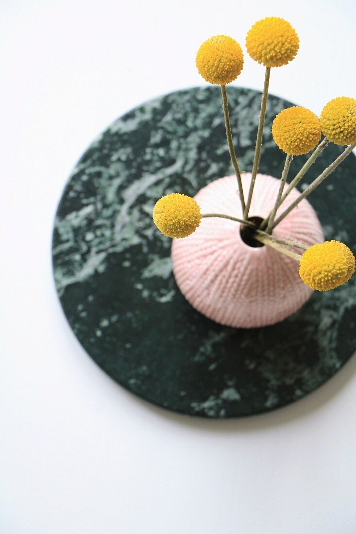 Craspedia flowers in pink vase on round stone plate seen from above