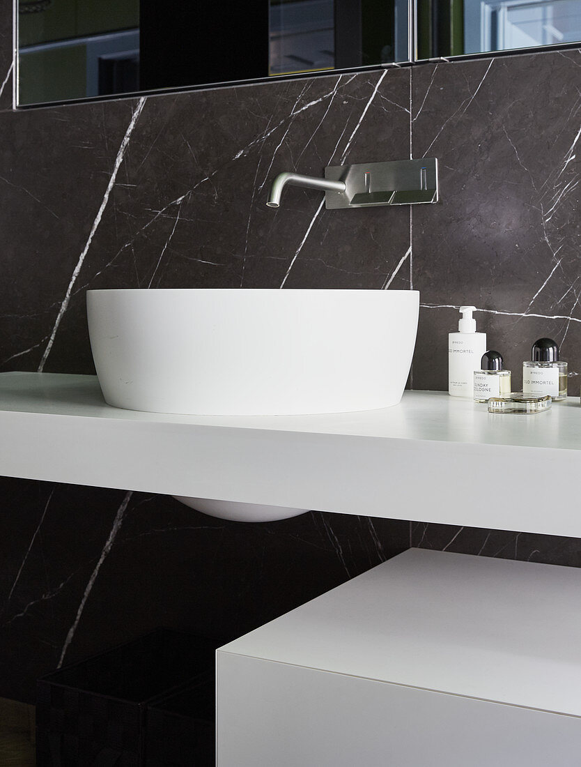 Modern Sink And Black Marble Wall In Buy Image 12337270 Living4media