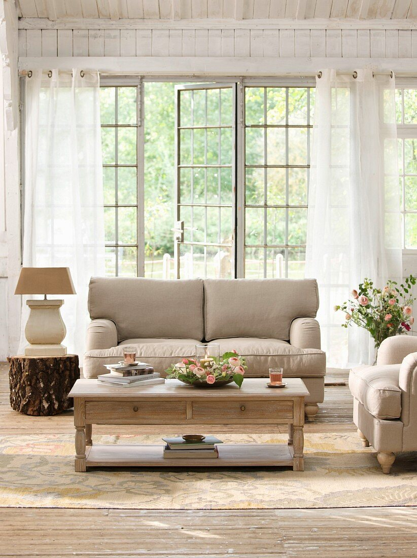 Bright living room with lattice French windows