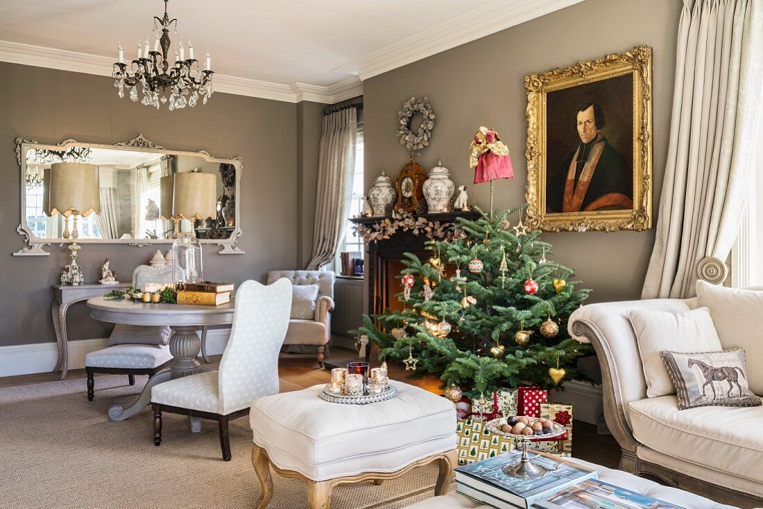 Christmas tree and antiques in classic living room