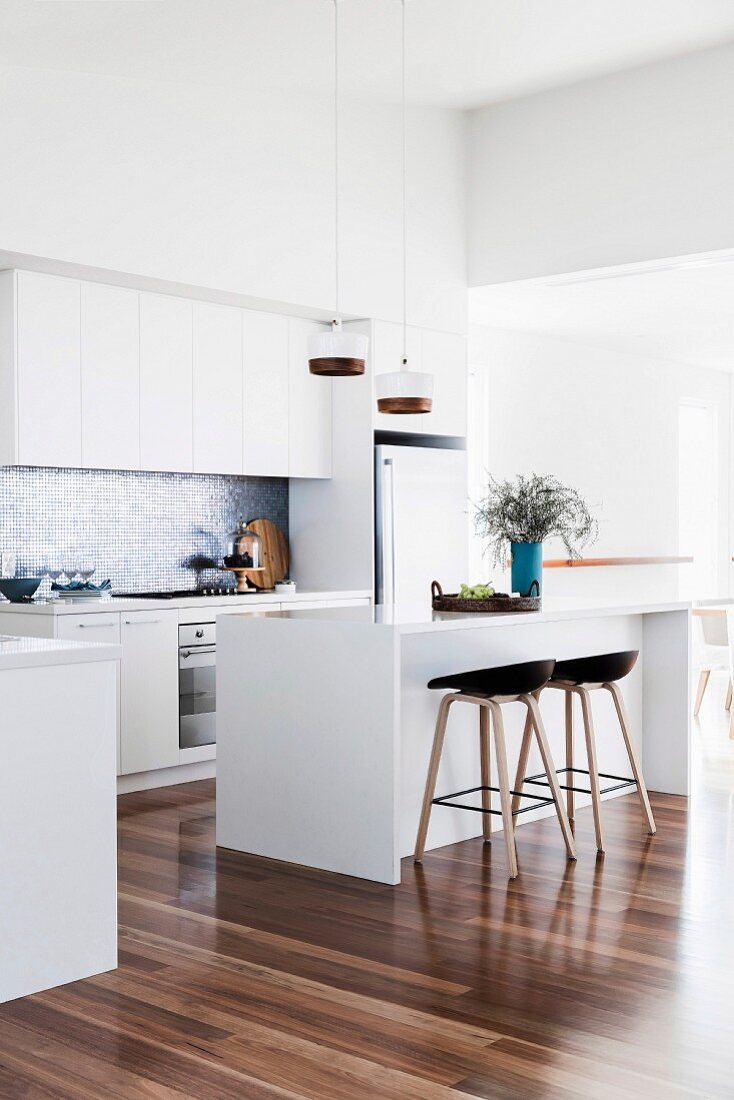 Modern white kitchen with shiny wooden … – Buy image – 9 ...