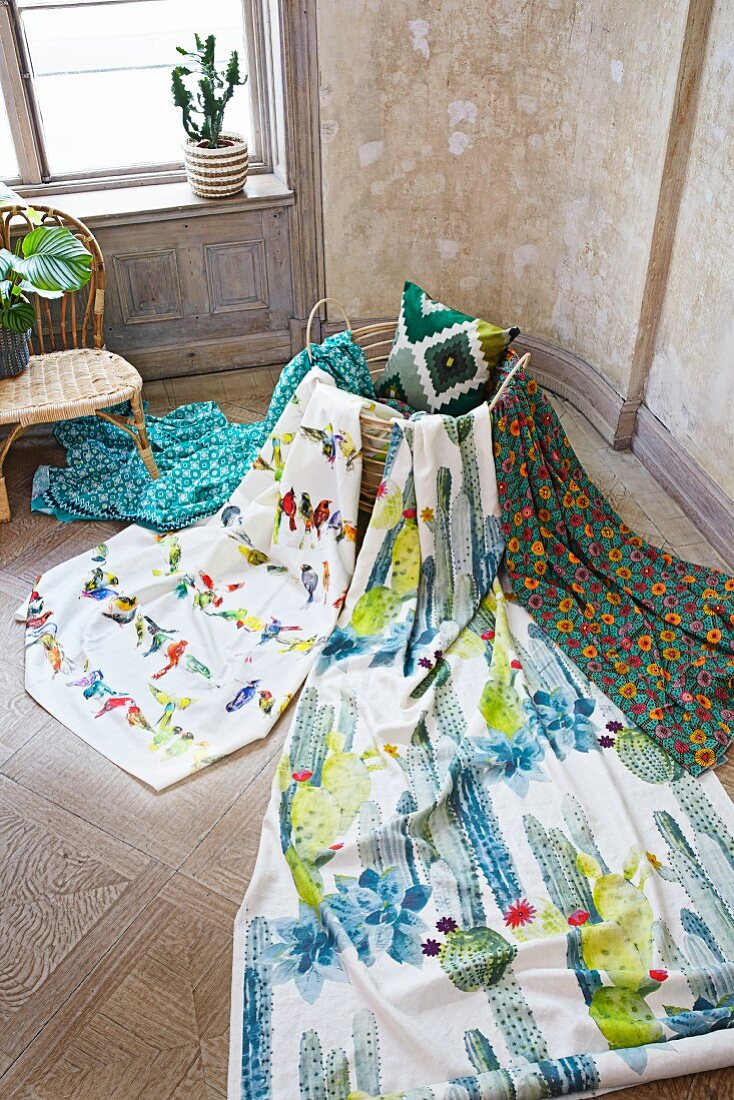 Lengths of fabric with tropical Mexican designs