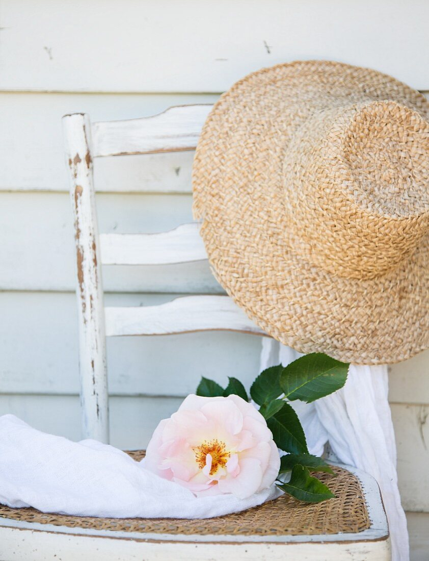 Overblown rose and straw hat on old chair
