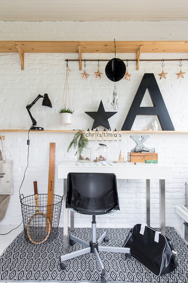 Christmas decorations in vintage-style workspace