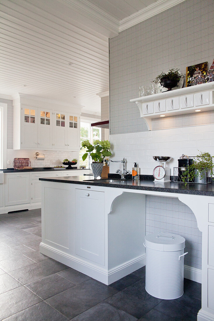 White Panelled Cabinets And Grey Floor Buy Image 12358614 Living4media