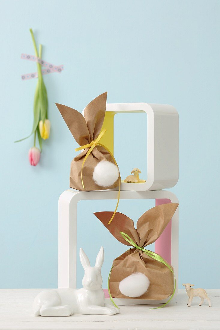 Bunny gift bags with cotton tails in shelf modules