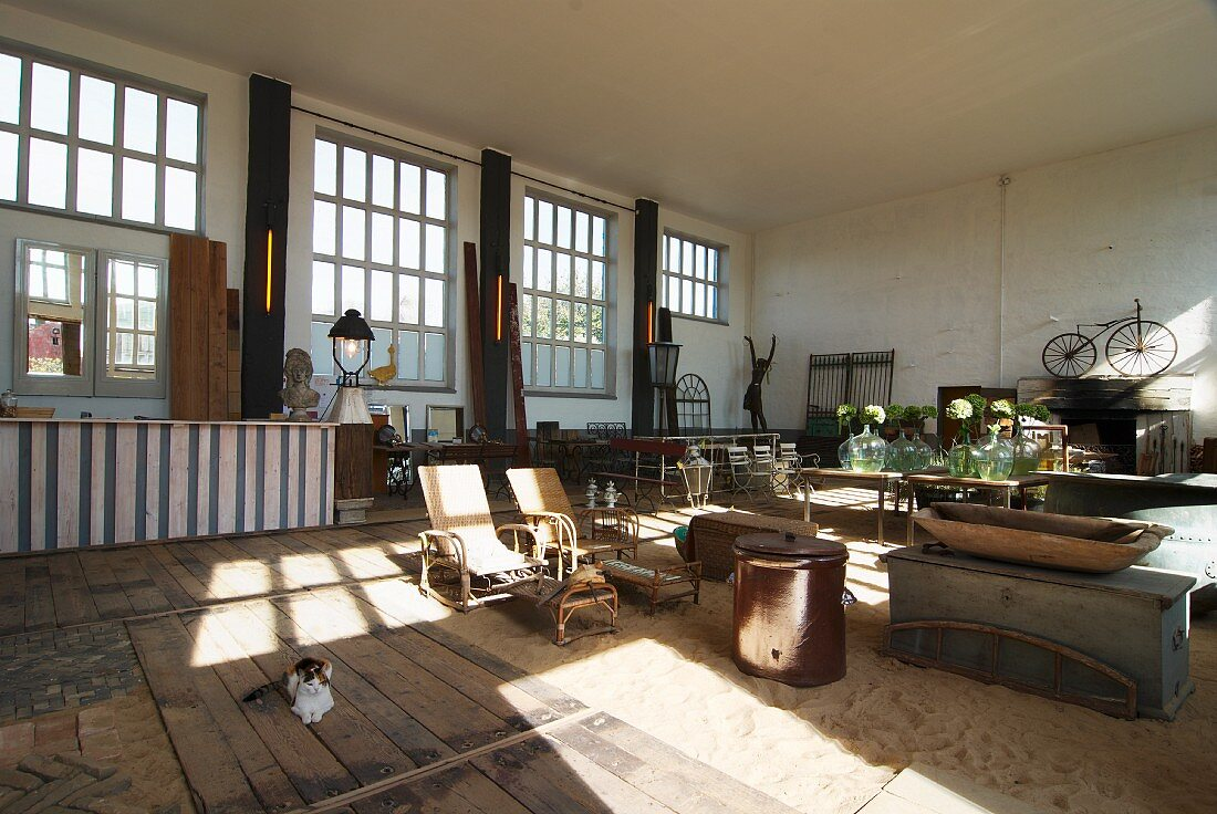 Various vintage furnishings and antiques in exhibition room