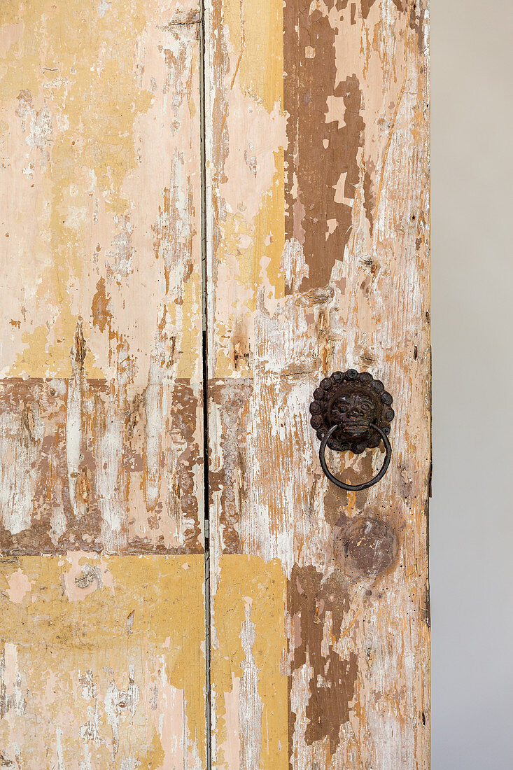 Detail of door with peeling paint and lion-head handle