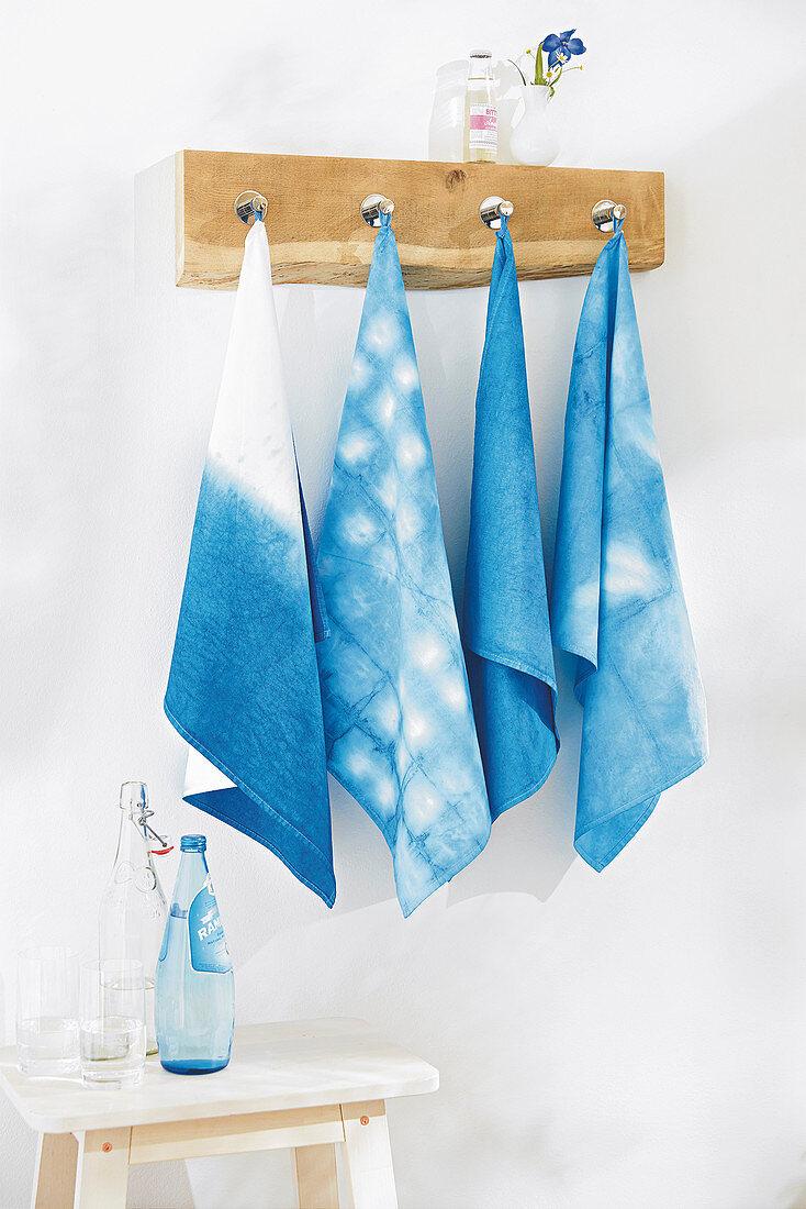 Batik tea towels in shades of blue