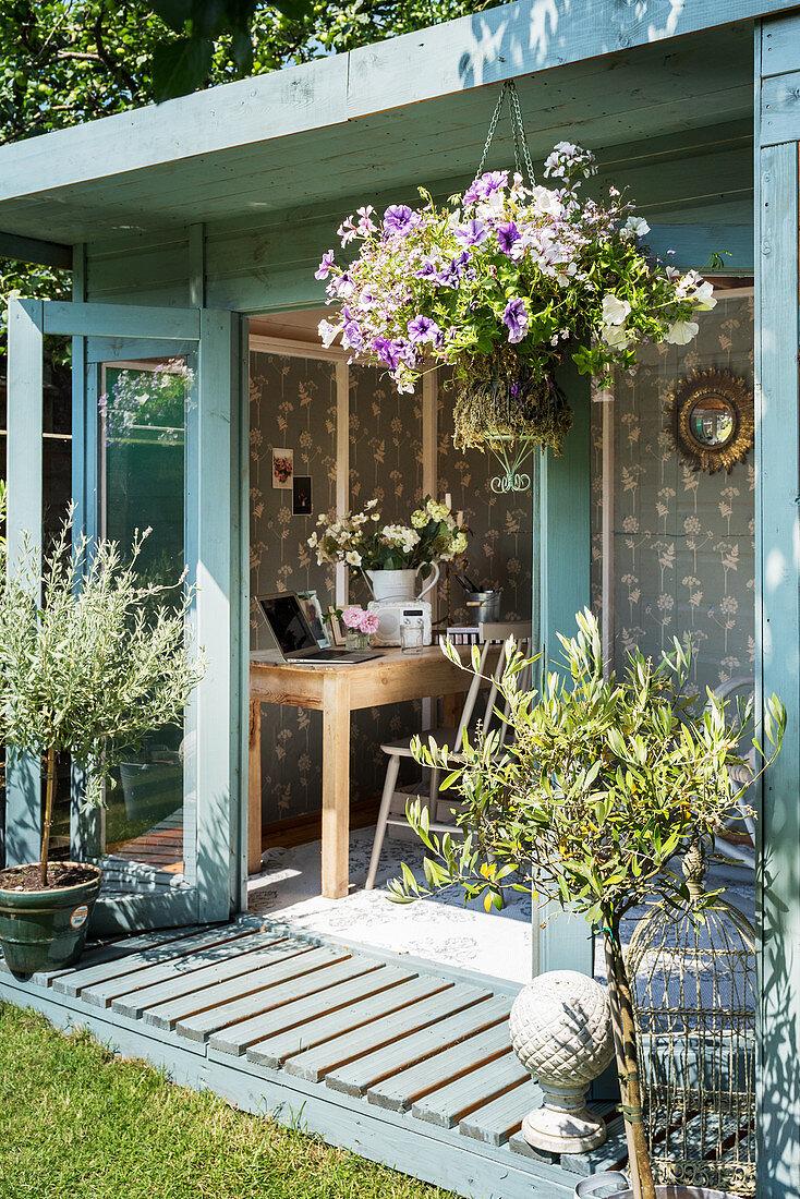 Mediterranean plants outside summerhouse