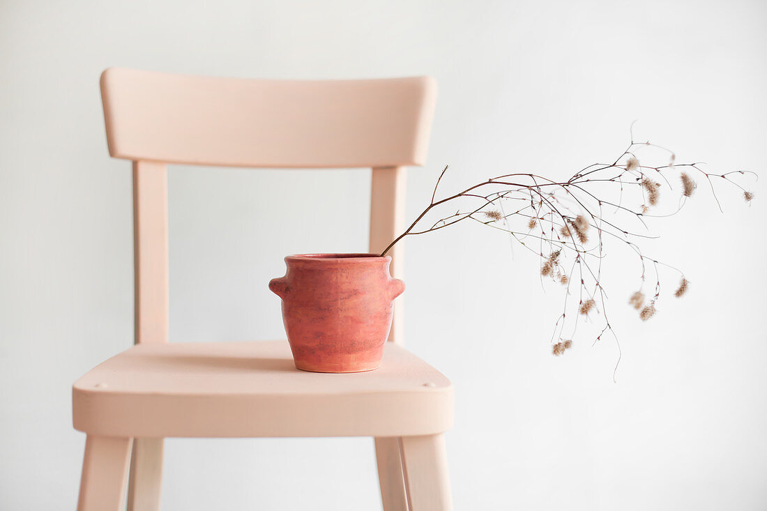 Branches of catkins in terracotta pot on chair