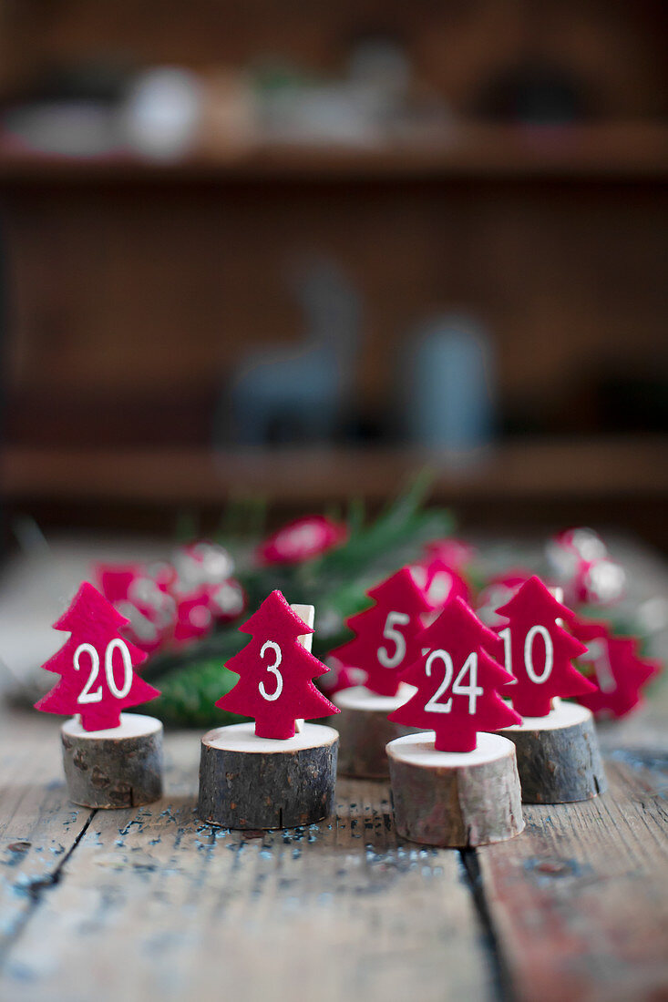 Small, numbered, felt trees arranged on wooden discs