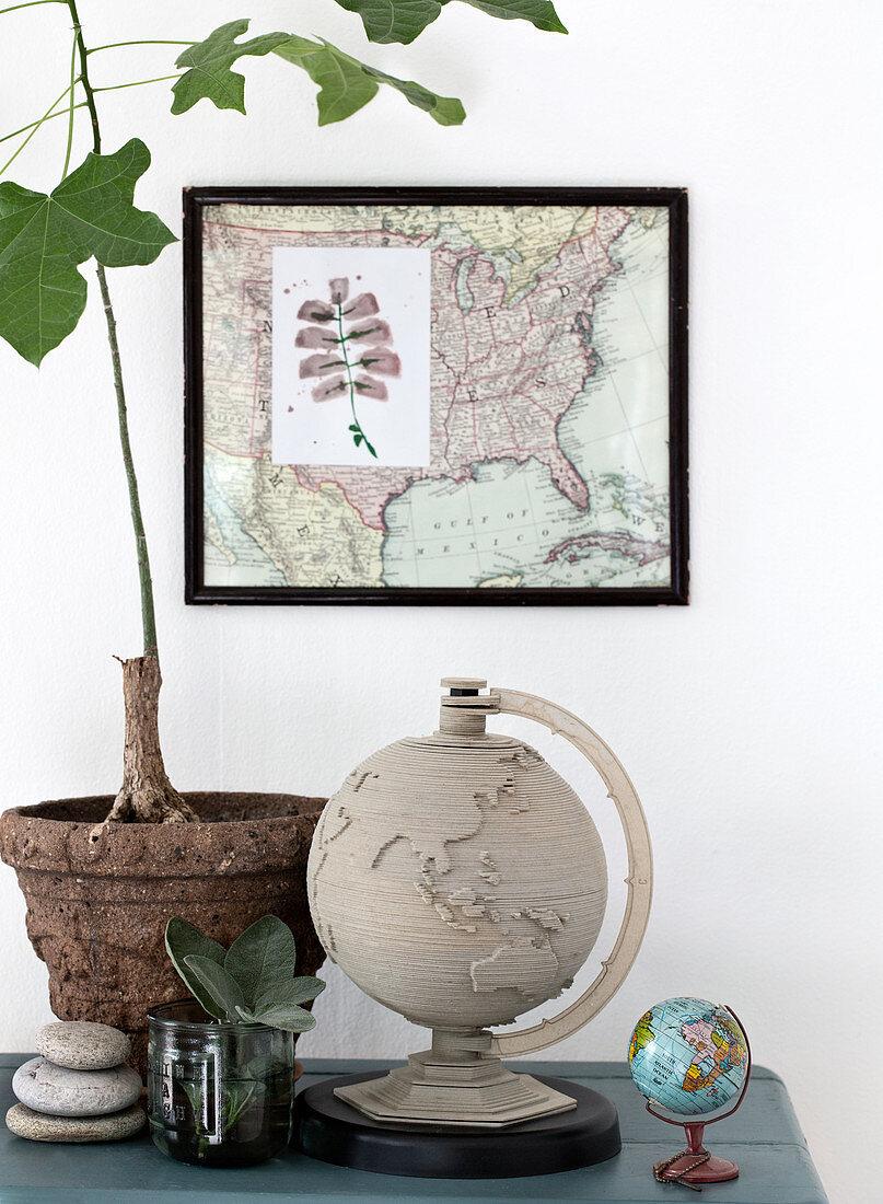 Still life globe, framed map, and fig trees