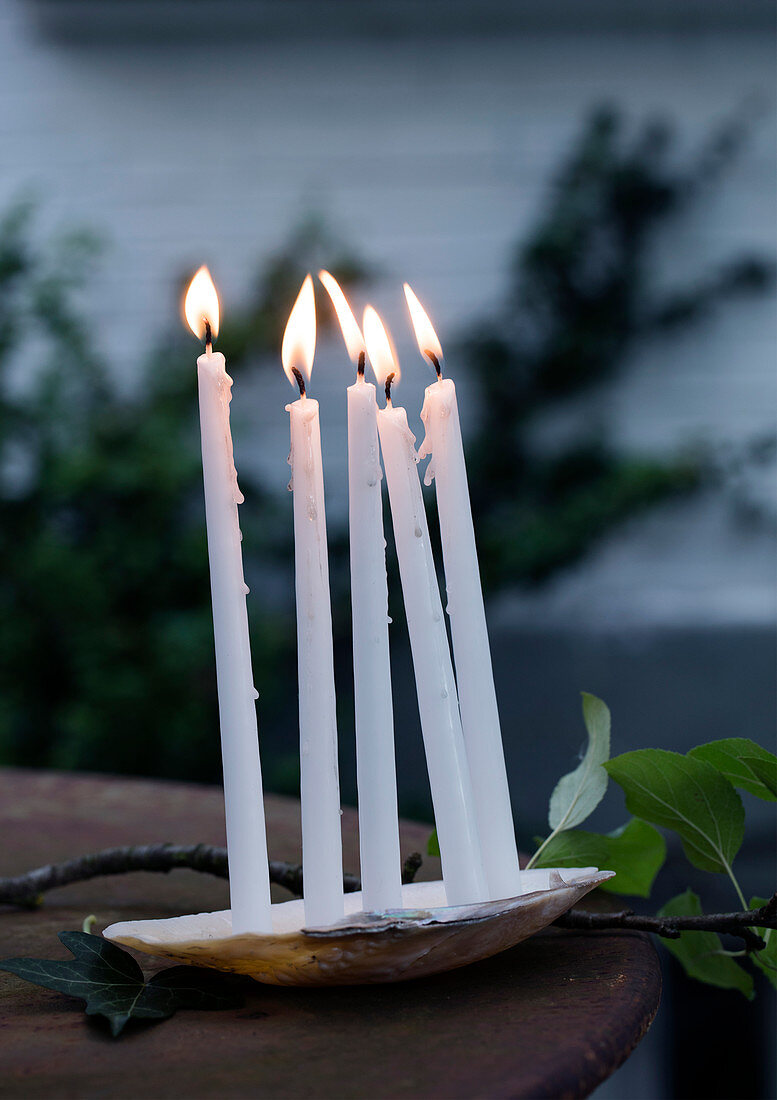 Thin white candles in a shell as garden decoration