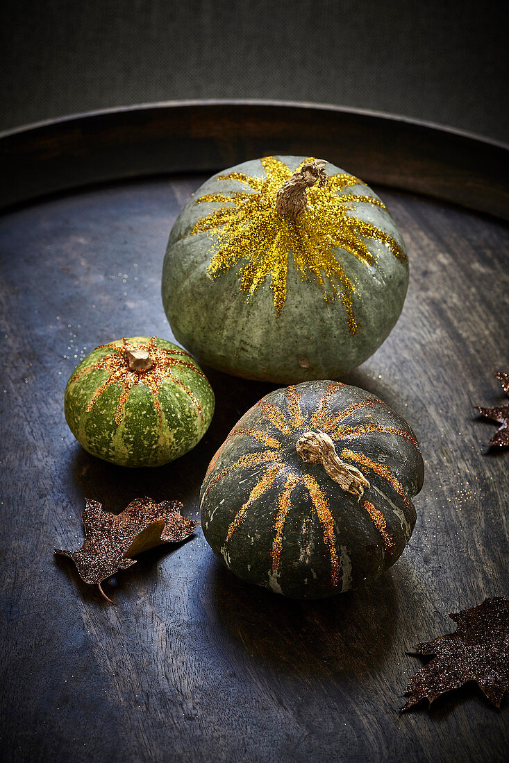 Pumpkins on a wooden tray