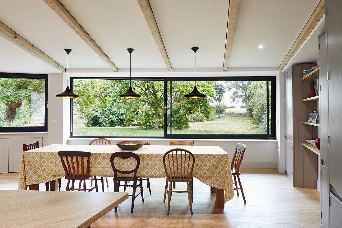 Dining Room With Large Windows, Dining Room Windows