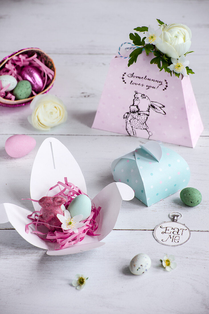 Small Easter gift of raspberry confection and sugar egg