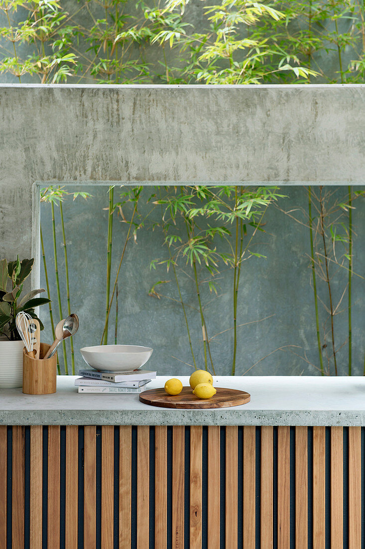 View from kitchen worktop onto green concrete wall