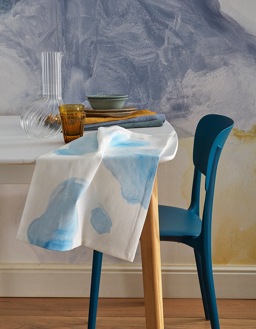 Tea towel and wall painted with watercolour effect