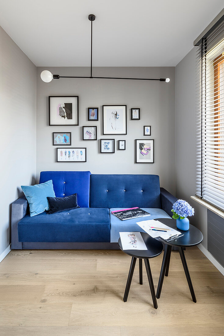 Blue Sofa And Side Tables In Narrow Buy Image 12622974 Living4media