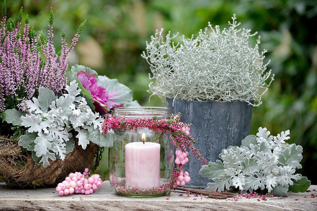 Windlicht mit Kranz aus Heidekraut, dekoriert mit Schneebeeren, dahinter Silberblatt und Stacheldrahtkraut