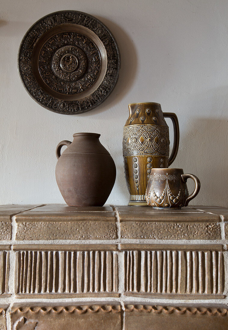 Ceramic vessels in earthy colours