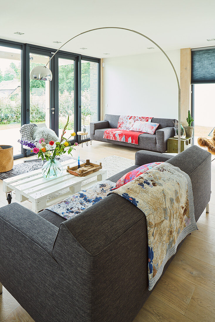 Grey Sofa And White Pallet Table In Buy Image 12667058 Living4media