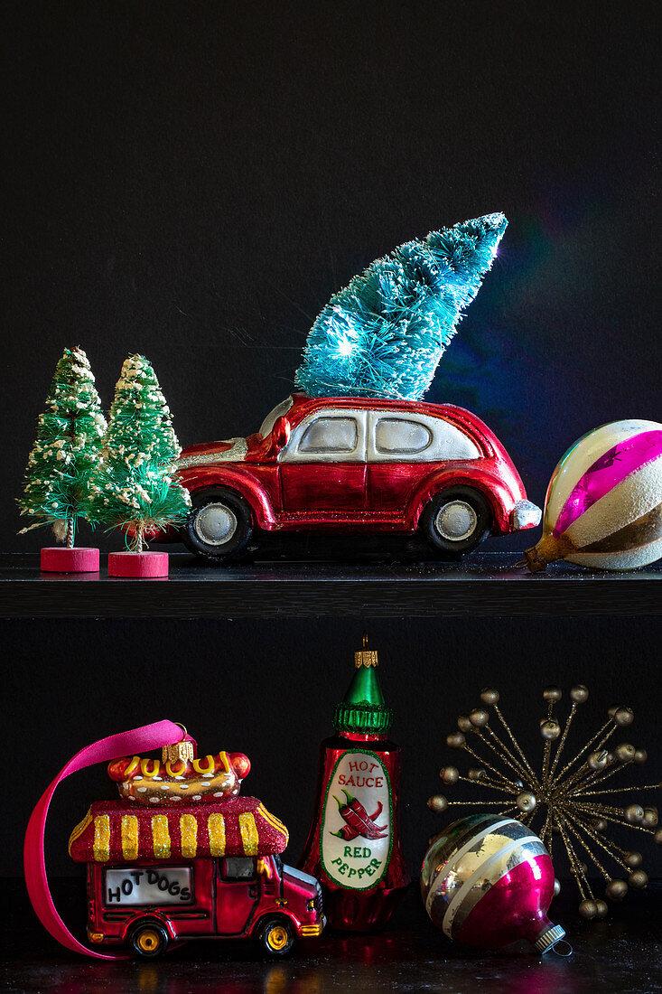 Retro-style Christmas decorations on shelf