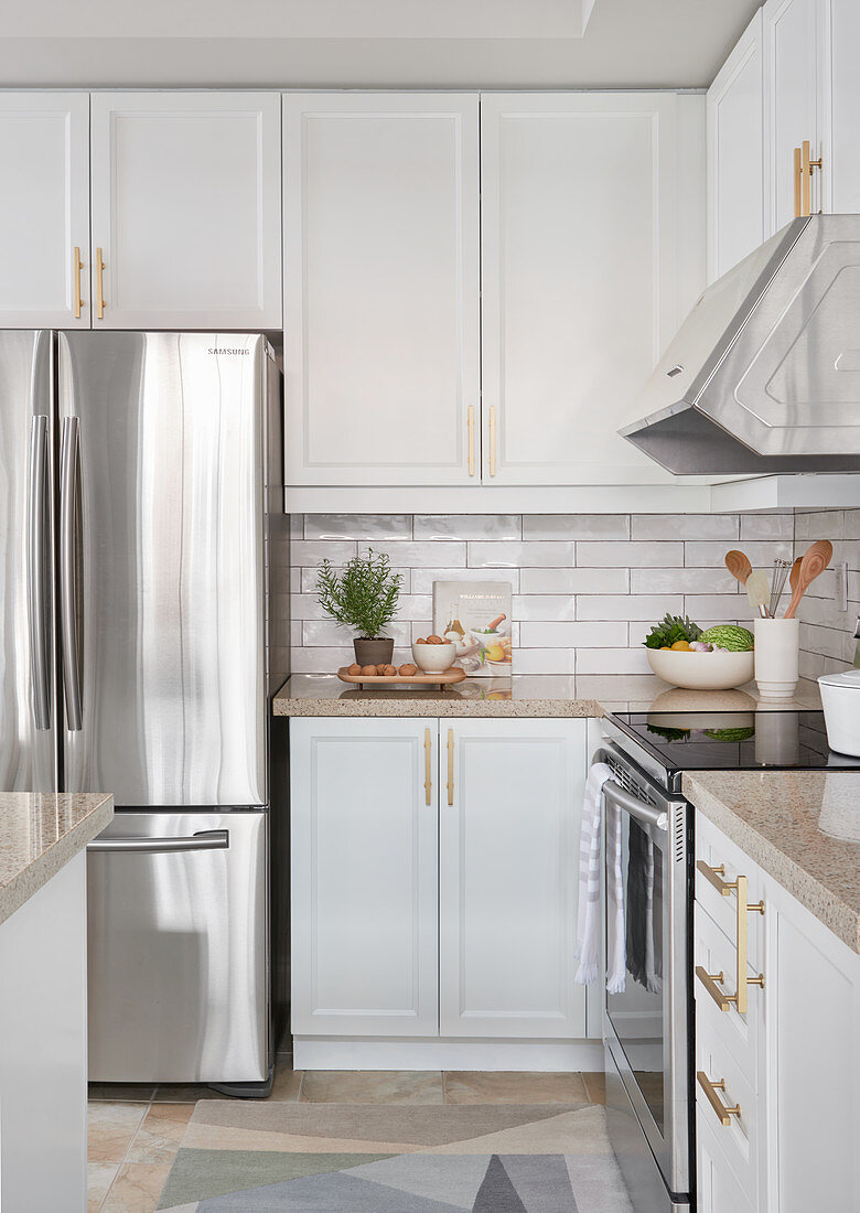 White Kitchen With Light Wood Accents Buy Image 12672162 Living4media