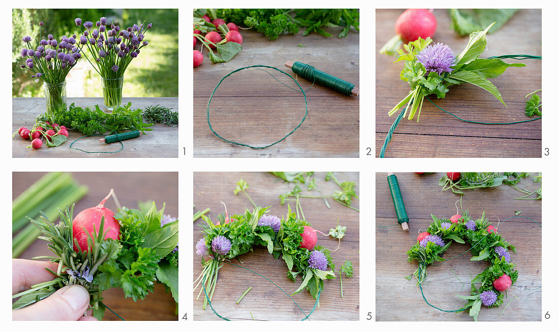 Instructions for tying a wreath of chive flowers, herbs and radishes
