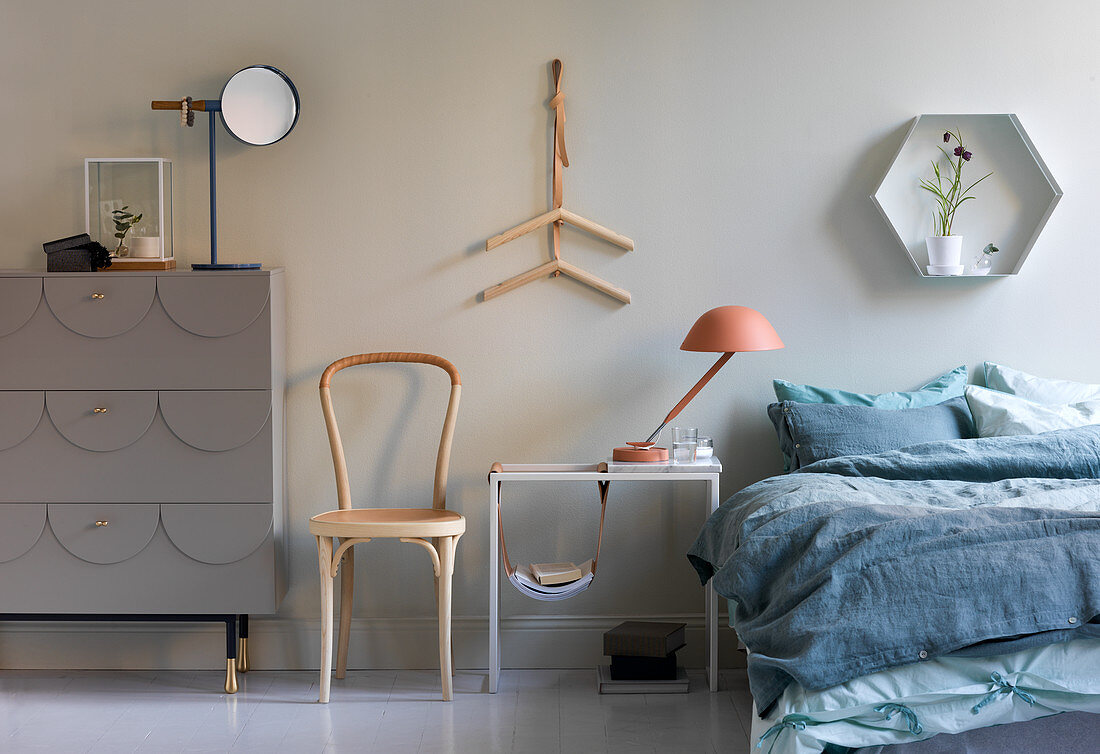 Blue-and-grey, Scandinavian-style bedroom