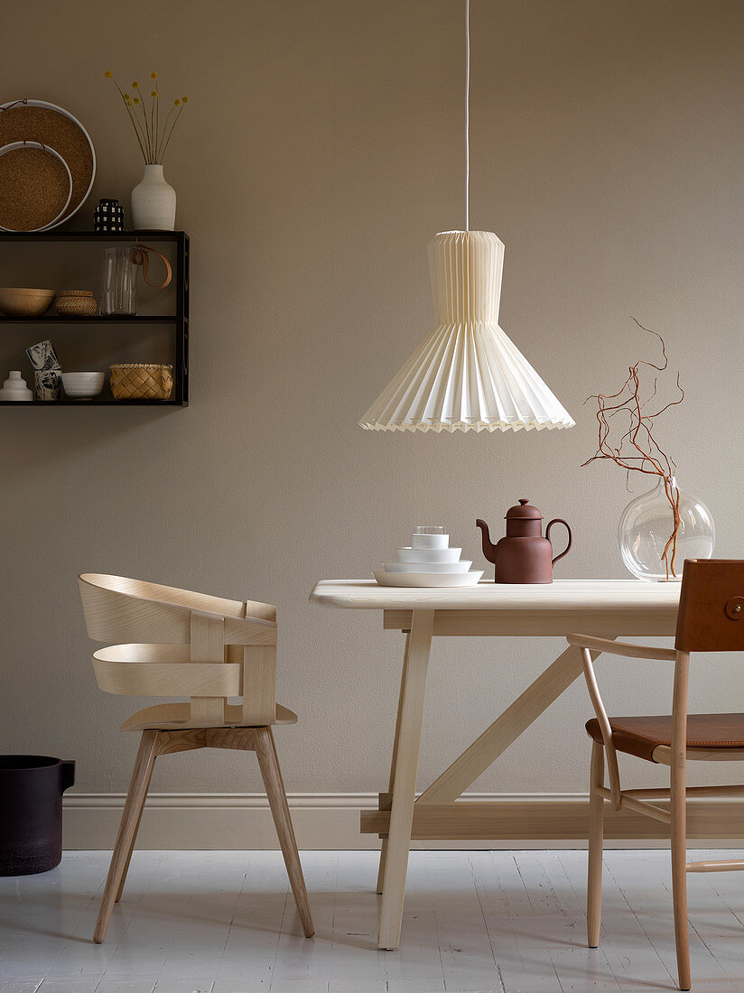 Scandinavian-style dining room in neutral shades
