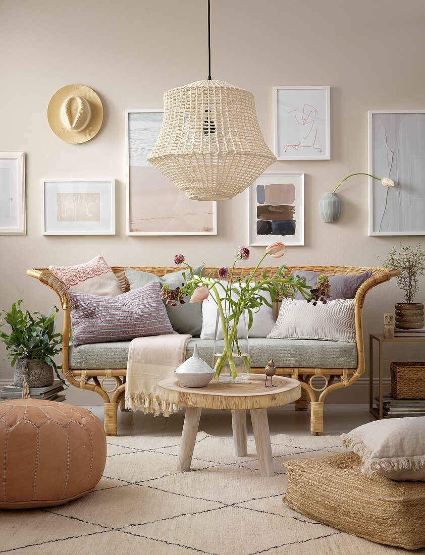 Bohemian-style living room in natural shades