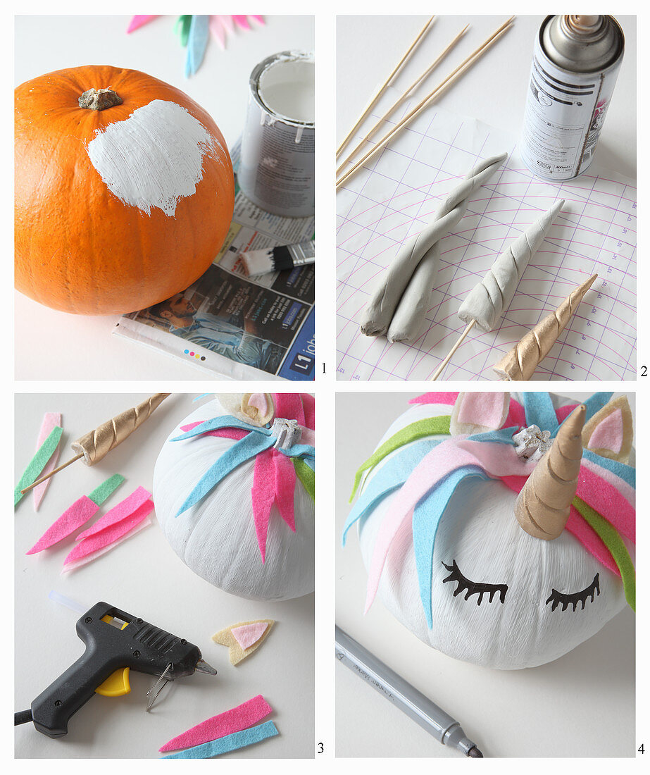 Handcrafted Halloween decorations: instructions for making unicorn pumpkins