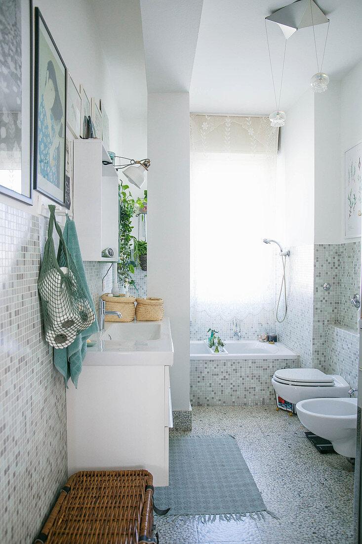 Mosaic tiles in bright bathroom